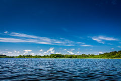 Blue lake and clear sky in summer royalty free stock image