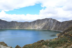 Blue lake in the crater of Quilotoa volcano, Ecuador. The crater of Quilotoa volcano contains a blue-green lake, also knows as `Quilotoa lake` This is a picture stock photo