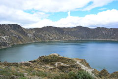 Blue lake in the crater of Quilotoa volcano, Ecuador. The crater of Quilotoa volcano contains a blue-green lake, also knows as `Quilotoa lake` This is a picture royalty free stock photo