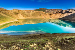 Blue lake in the crater of a volcano, Iceland Royalty Free Stock Images