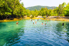 Blue lake in the dense jungles of Thailand Royalty Free Stock Images