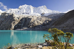 Blue lake in foot of snow-covered mountain at sunrise Royalty Free Stock Photo