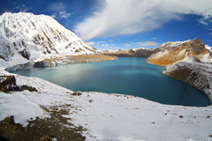 Blue lake in high altitude, Tilicho, Nepal Royalty Free Stock Photography