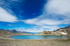 Blue lake of high mountains in the summer. Blue lake of high mountains Royalty Free Stock Photo
