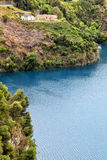 Blue Lake. The historic pump station at the Blue Lake, a crater lake in an extinct volcanic maar in Mount Gambier, South Australia, Australia Royalty Free Stock Photo