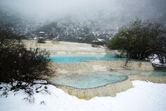 Blue lake in huang long stock photography