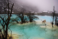 Blue lake in huang long Stock Image