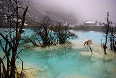 Blue lake in huang long stock image