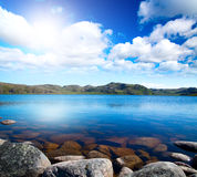 Blue lake idill under cloudy sky. Blue lake idill under cloudline sky Royalty Free Stock Photo