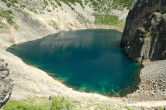 Blue lake Imotski in Croatia. In spring Royalty Free Stock Photography