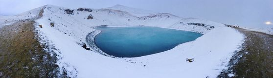 Blue Lake in the Middle of Snowfield royalty free stock image