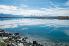 Blue Lake with Mount Cook Backdrop, New Zealand Royalty Free Stock Image