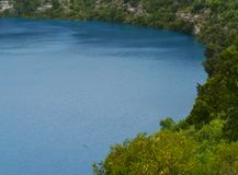 The Blue Lake in Mount Gambier. In South Australia is a large monomictic lake Royalty Free Stock Photos