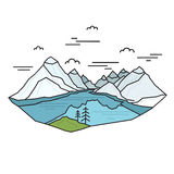 Blue lake with mountains in the background made in linear style. Abstract Nature Scene. Travel concept. Royalty Free Stock Image