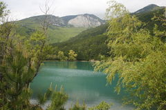 Blue lake in the mountains. Blue lake in the mountains among the forest Stock Photography