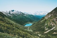 Blue Lake in mountains Landscape Travel aerial view Royalty Free Stock Photography