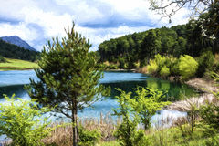 Blue Lake in the mountains - Painting effect Stock Image