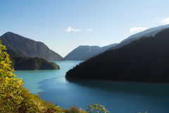Blue lake in the mountains Stock Images