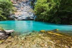 Blue lake in mountains on the way to  Ritsa. Abkhazia Stock Photos