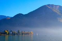 Annecy lake and moutain Stock Photos