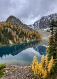 Blue Lake in North Cascades. stock images