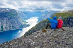 Blue lake in Norway near Trolltunga Royalty Free Stock Photography
