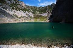 Blue Lake one of the karst lakes. Freshwater karst lake near Imotski royalty free stock images