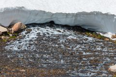 Blue Lake Outlet Melting Snow Colorado Landscape Stock Photo