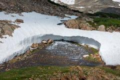 Blue Lake Outlet Melting Snow Colorado Landscape Stock Photos