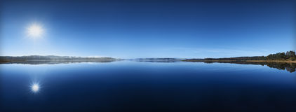 Blue lake panorama Royalty Free Stock Image