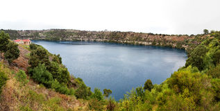 Blue Lake. Panorama of the Blue Lake, a crater lake in an extinct volcanic maar in Mount Gambier, South Australia, Australia Royalty Free Stock Images