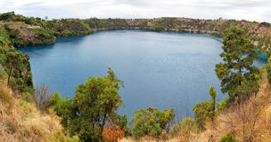 Blue Lake. Panorama of the Blue Lake, a crater lake in an extinct volcanic maar in Mount Gambier, South Australia, Australia Stock Photo