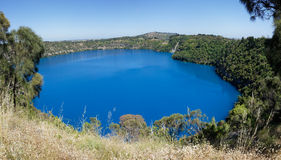 Blue Lake panoramic view, Mount Gambier, South Australia. Panorama of Blue Lake, Mt Gambier, Australia Royalty Free Stock Photo