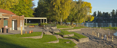 Blue lake park panorama fairview Oregon. Royalty Free Stock Images