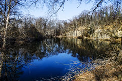 Blue lake in the park Royalty Free Stock Photos