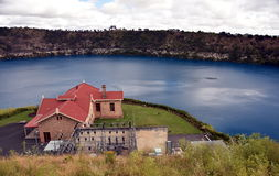 Blue Lake with the pumping station at Mt Gambier Royalty Free Stock Photos