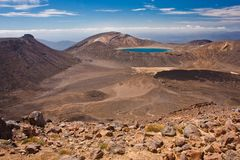 Blue lake in rocky landscape of Tongariro NP, New Zealand. Famous touristic destination of NZ, unique volcanic landscape of one of the most beatiful national royalty free stock image