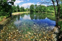 Blue Lake in Russia. Location is Blue lake in Balkaria,Caucasus,Russia. Shot taken with a wide angle fisheye lens. Destination scenic. Calm lake waters with Stock Photography