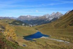 Blue lake Schwellisee and Arosa Stock Photos