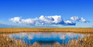 Blue lake in a steppe Royalty Free Stock Image