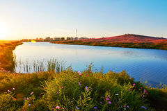 The blue lake sunset Royalty Free Stock Image