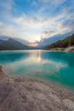 Blue lake at sunset Stock Photography