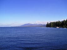 Blue Lake Tahoe. A view of Lake Tahoe from Sunny Side, California in the late afternoon stock images