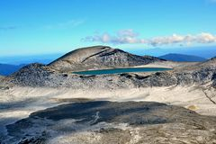 Blue lake, Tongariro National Park. Active volcano covered with snow dust.Hiking in Tongariro national park. When i got up at dawn, snow was everywhere. Overcame Stock Image