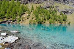 Blue lake, Valle d`Aosta, Italy Stock Images