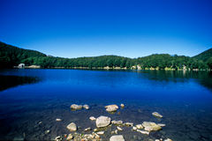 Blue lake water. Landscape image of a blue lake with surrounding trees Stock Photo