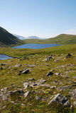 Blue lakes on the green hills of Soroya. Royalty Free Stock Photos