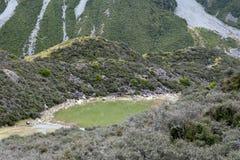The Blue Lakes located near Tasman Glacier in Aoraki / Mount Cook, New Zealand Royalty Free Stock Photos
