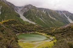 Blue Lakes - Tasman Valley. One of the Blue Lakes, which are nowadays small green ponds full of algae, on an overcast day - Tasman Valley, South Island, New stock photography