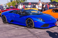 Blue Lamborghini on exhibition parking at an annual event Superc Stock Photo